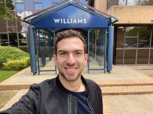 Nicholas Latifi at Williams Factory Entrance